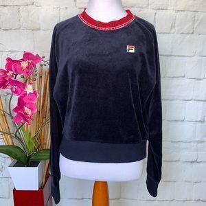 FILA Dina Navy Velour Crop Crew Sweatshirt Size L